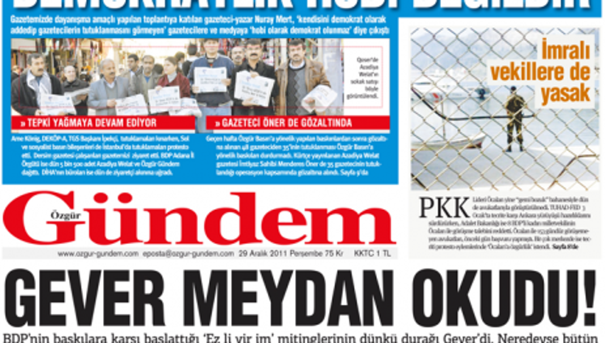 Ozgur Gundem newspaper features its own troubles