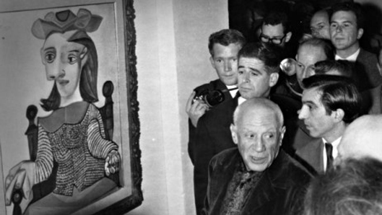 Pablo Picasso at his art exhibit in Vallauris in 1961