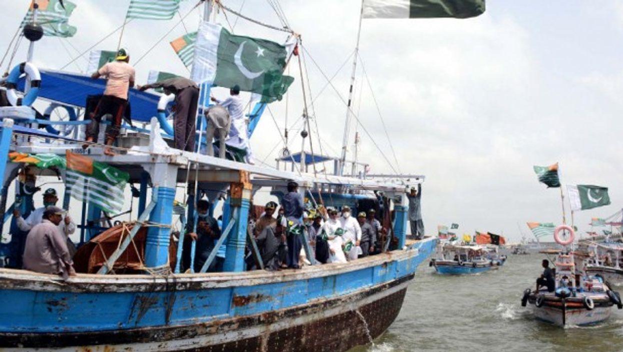 Pakistani fishermen in the Arabian Sea