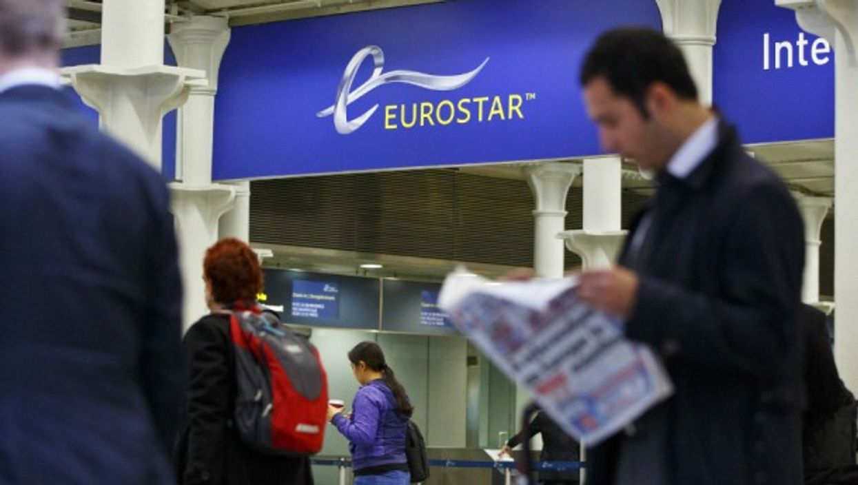 Passengers checking in to travel on Eurostar in London