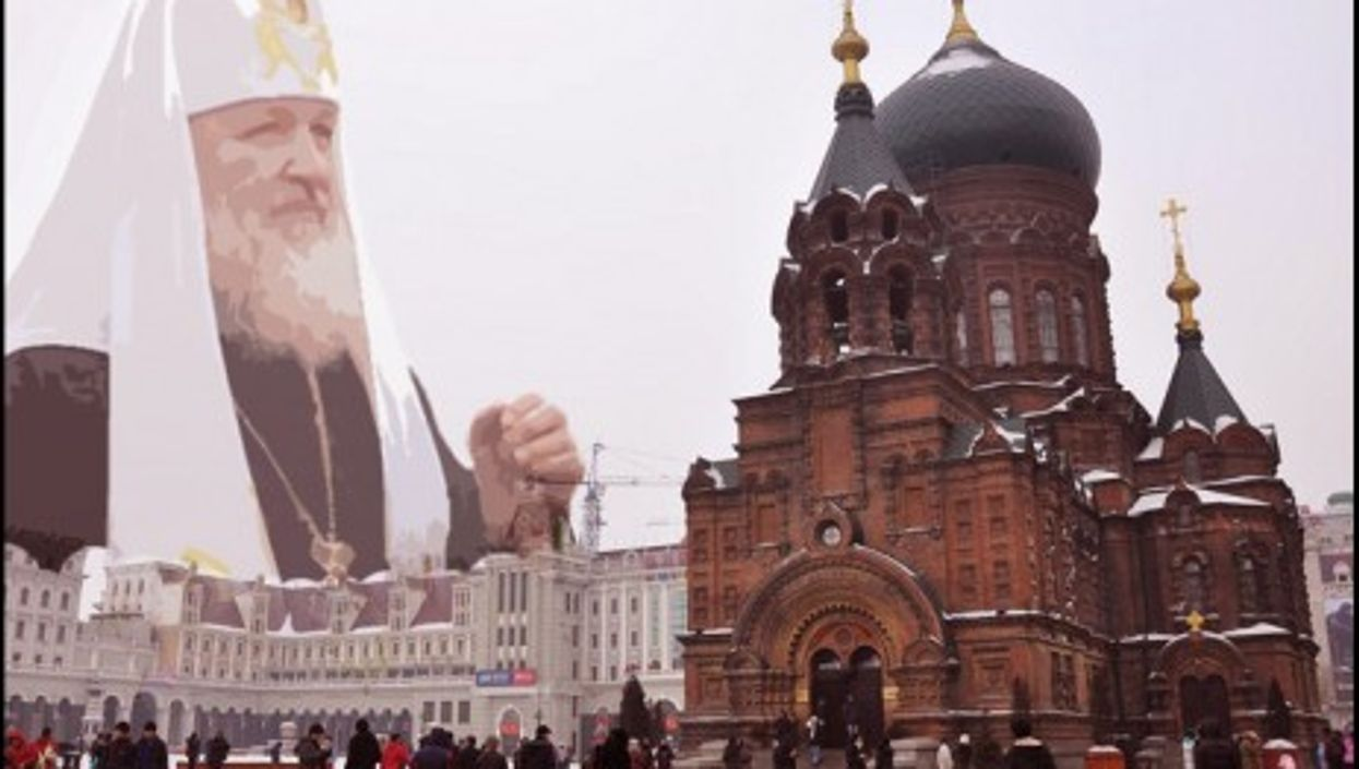 Patriarch Kirill Harbin and St. Sophia Orthodox Church in Harbin, northeastern China