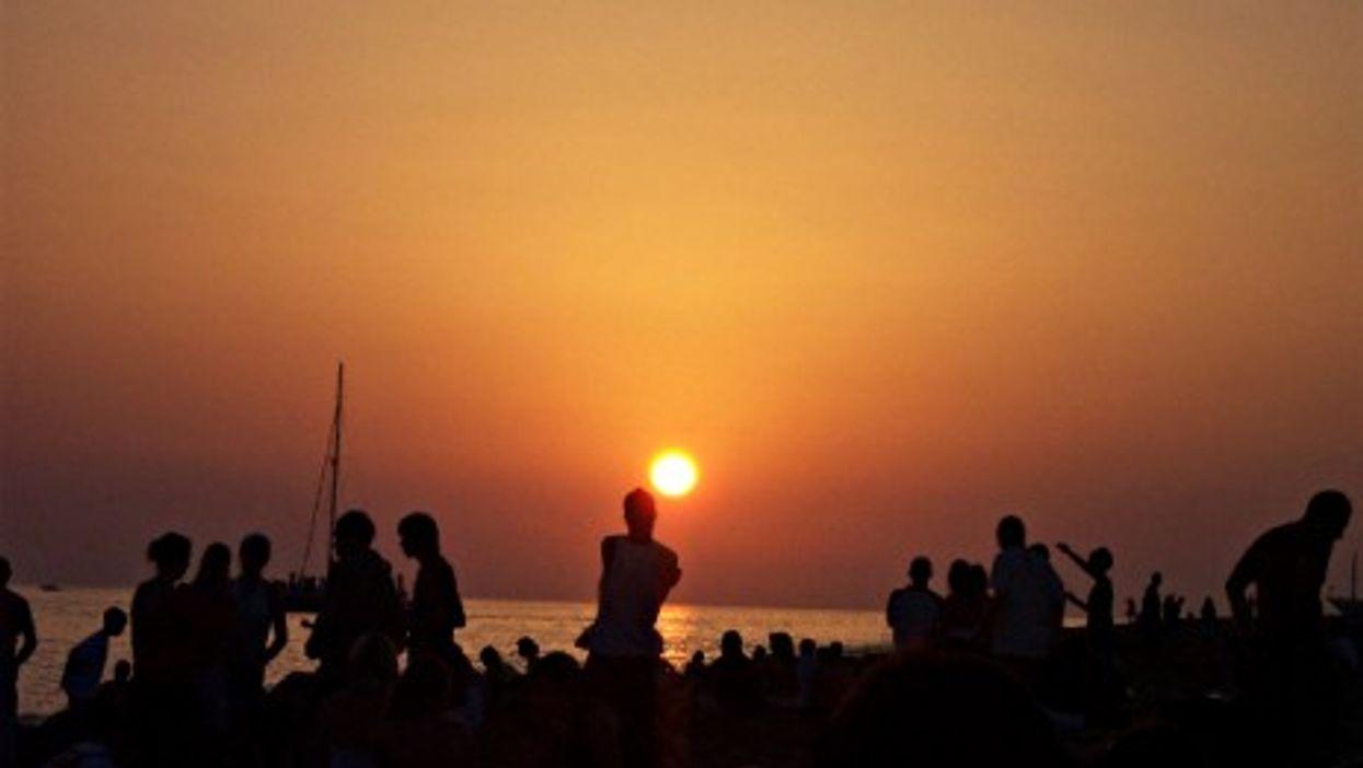 People at the beach in San Antonio, Ibiza.