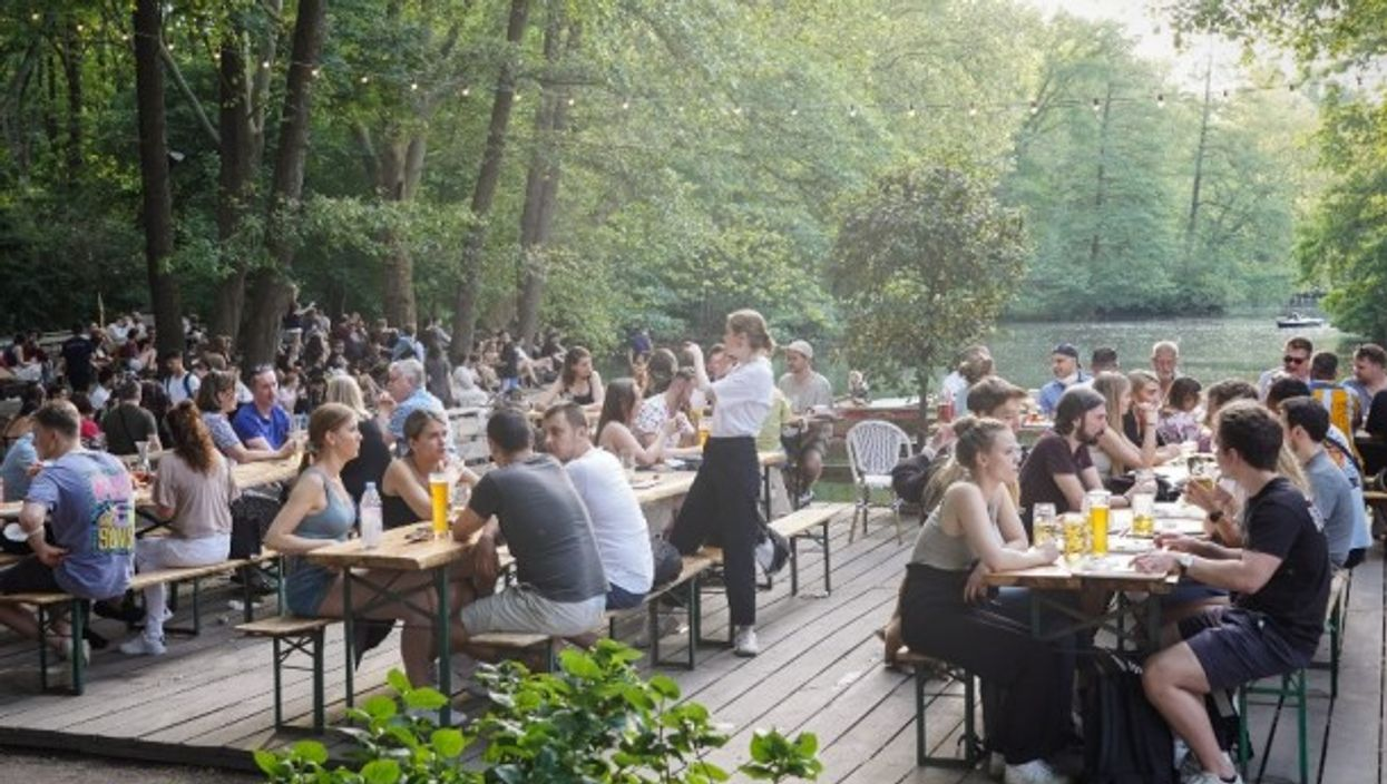 People enjoy a beer garden in Berlin, Germany on June 5, 2021.