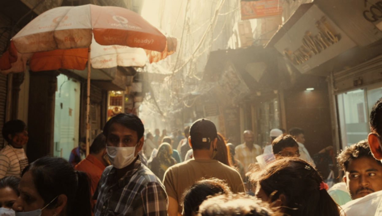 People walking in Delhi, India