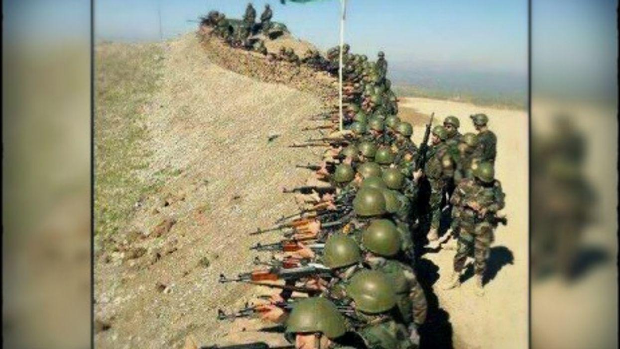 Peshmerga fighters defending Kirkuk after the Iraqi army fled.