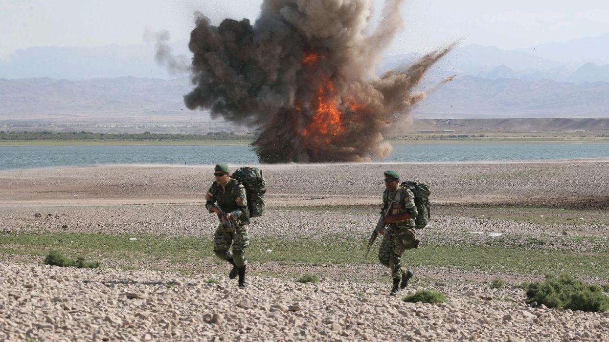 Photo of an explosion during Iranian military exercises near the Azerbaijan border.