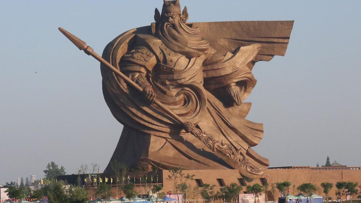 Photo of the 58-meter tall Statue of Guan Yu in Jingzhou Park, China