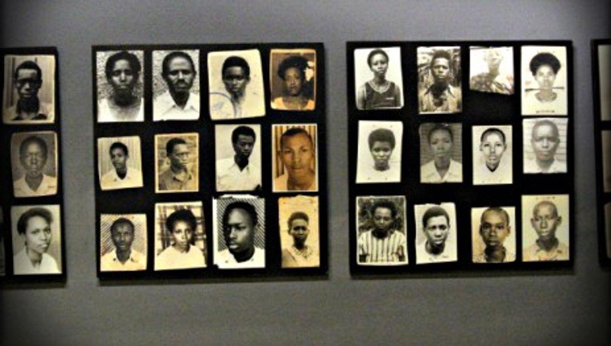 Pictures of genocide victims on display at the Rwanda Genocide Memorial in Kigali, Rwanda