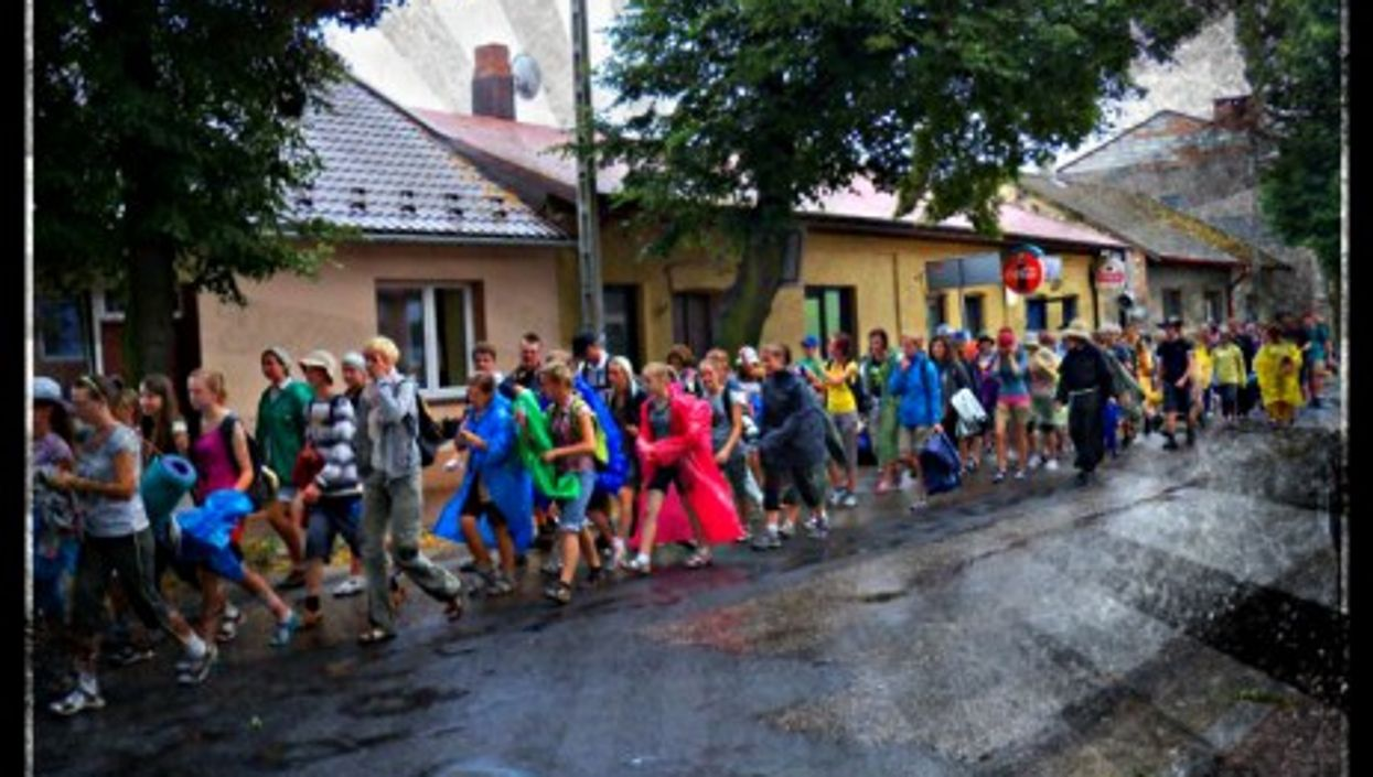 Pilgrims on their way to the Jasna Gora Monastery in Czestochowa