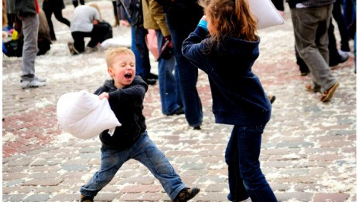 Pillow fight in Warsaw