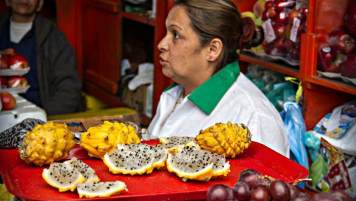 Pitaya on the market in Bogota