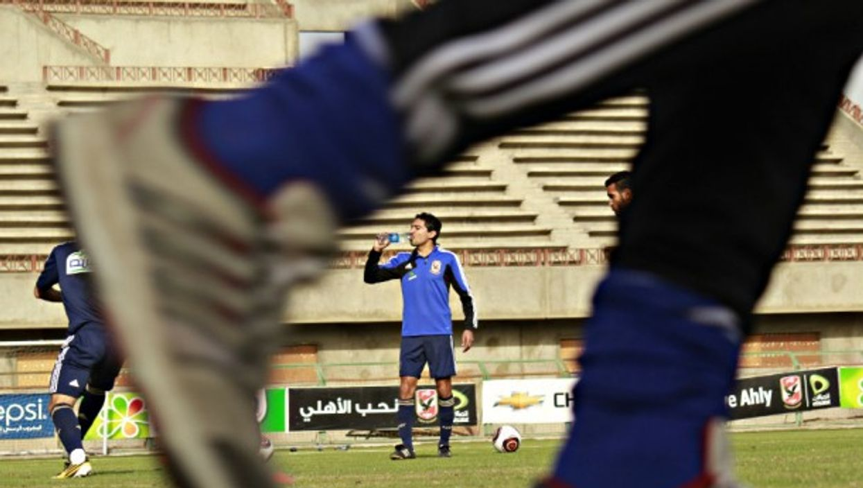 Players for al-Ahly soccer club in Cairo