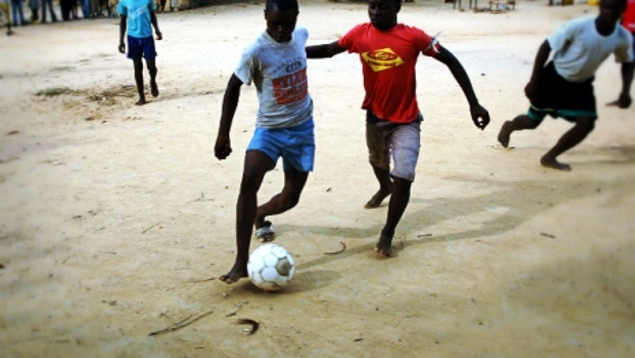 Playing soccer in Kindu, DRC