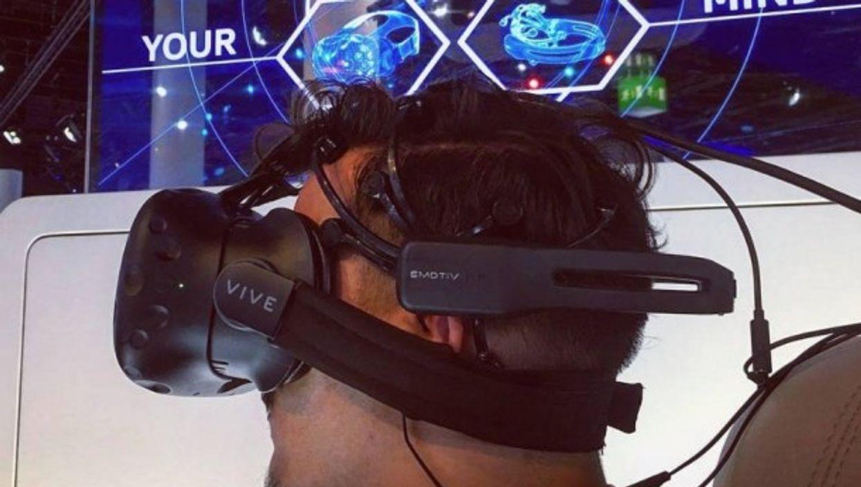 Plugged into Emotiv neuro-computing sensors