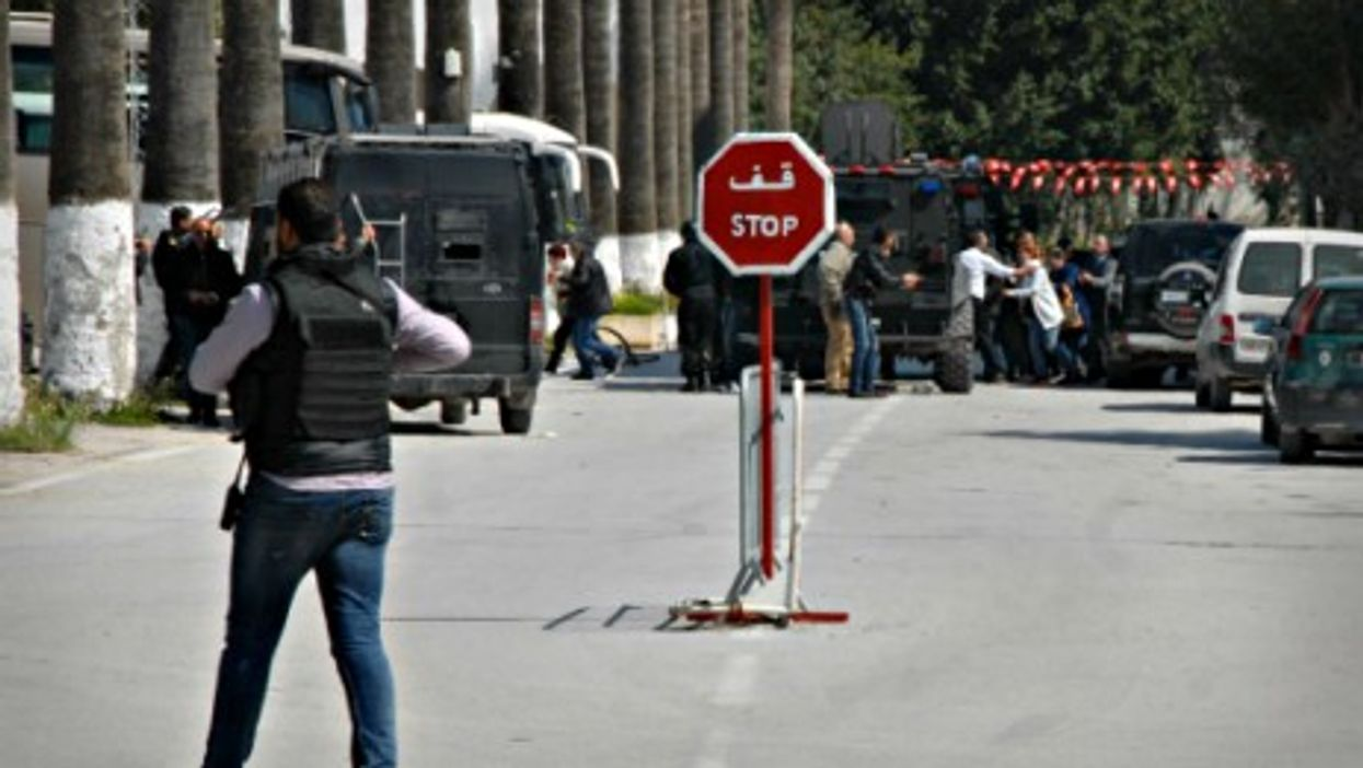 Police at Tunis' Bardo Museum on March 18