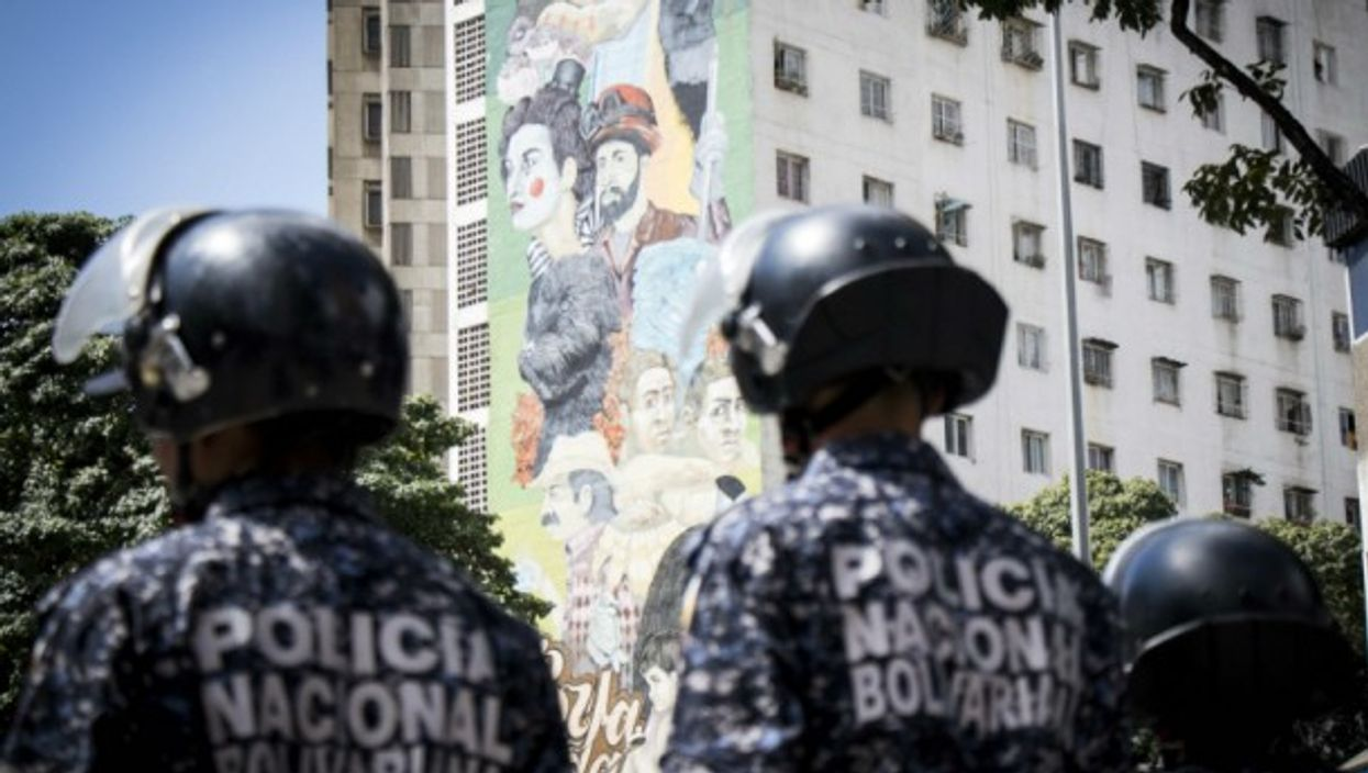 Police forces in Caracas on Jan. 30