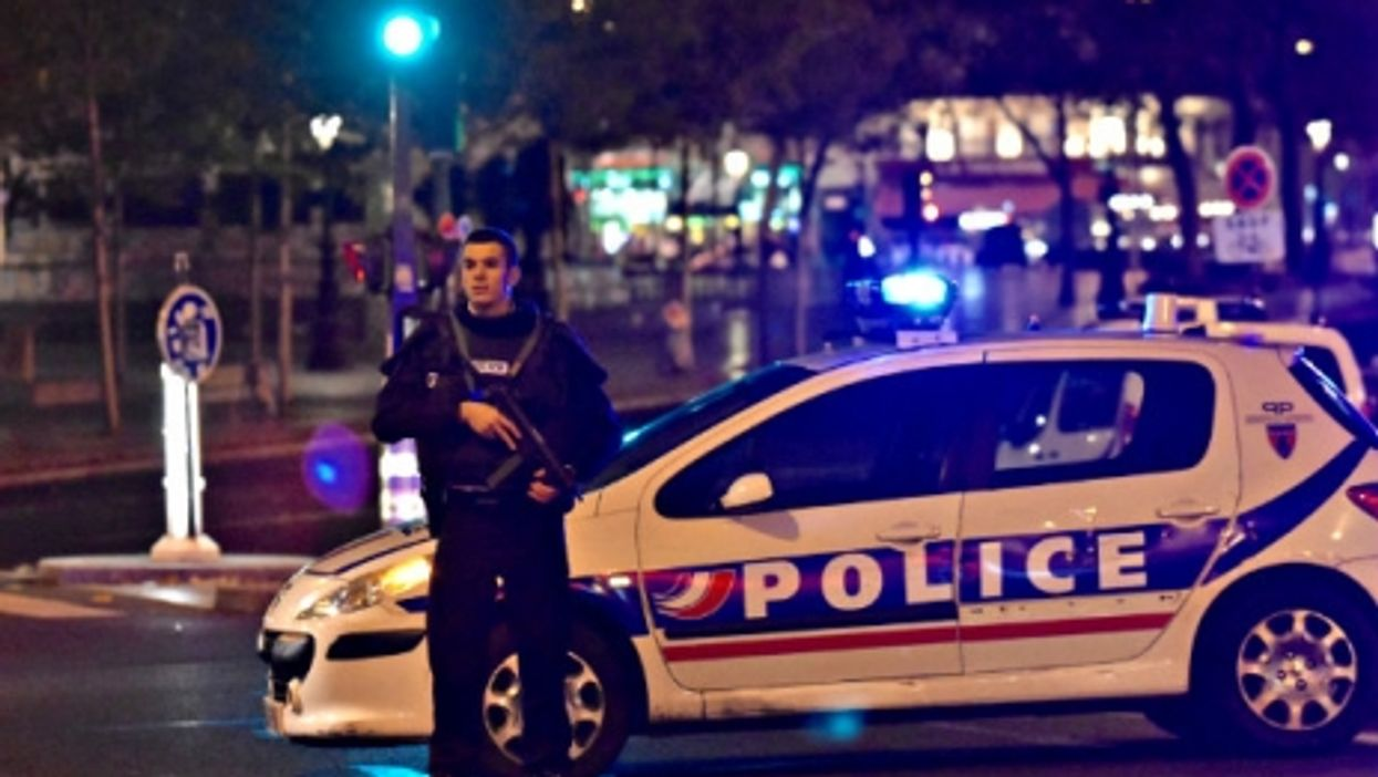 Police in Paris after the attack Friday.