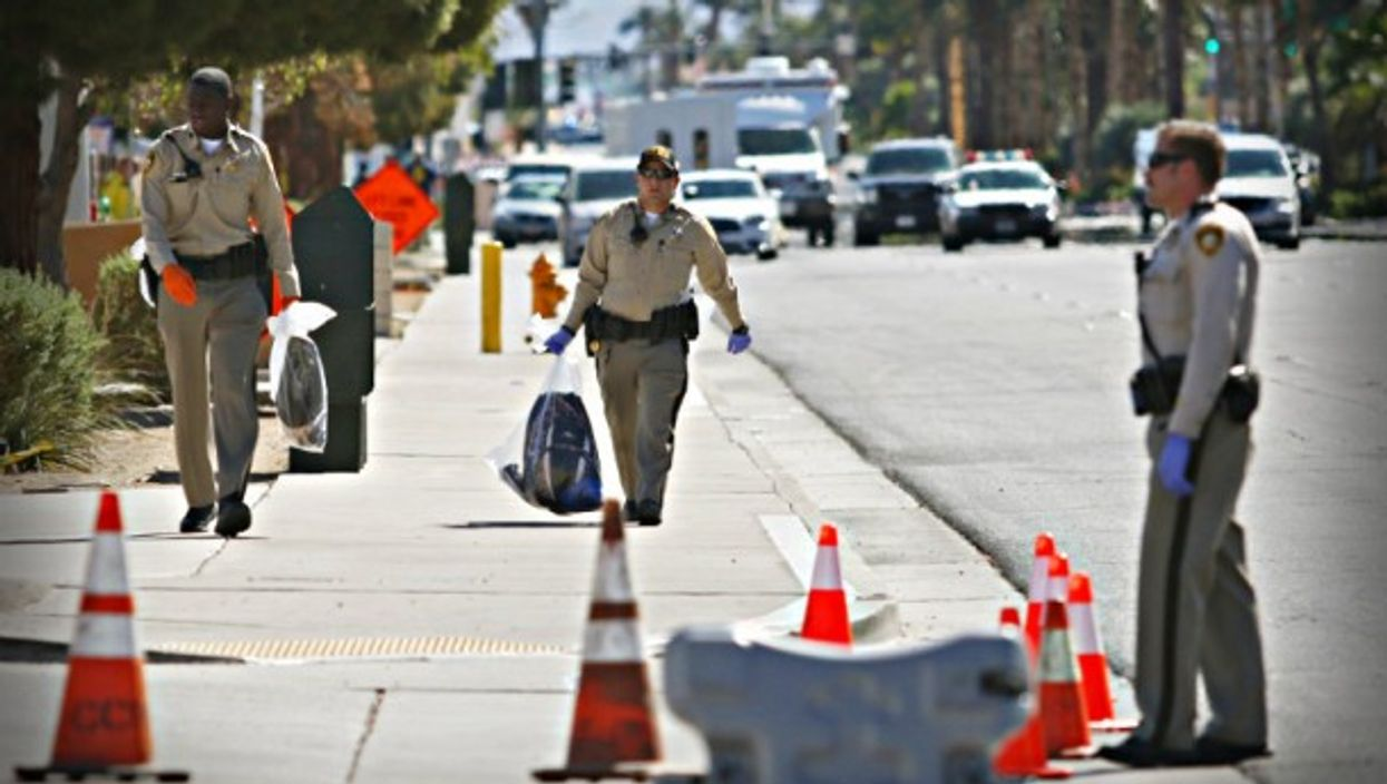 Police investigators in Las Vegas