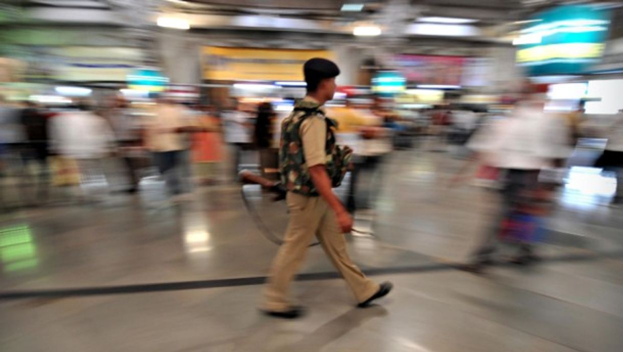 Policeman at Mumbai's CST railway station on Dec. 1, 2008.