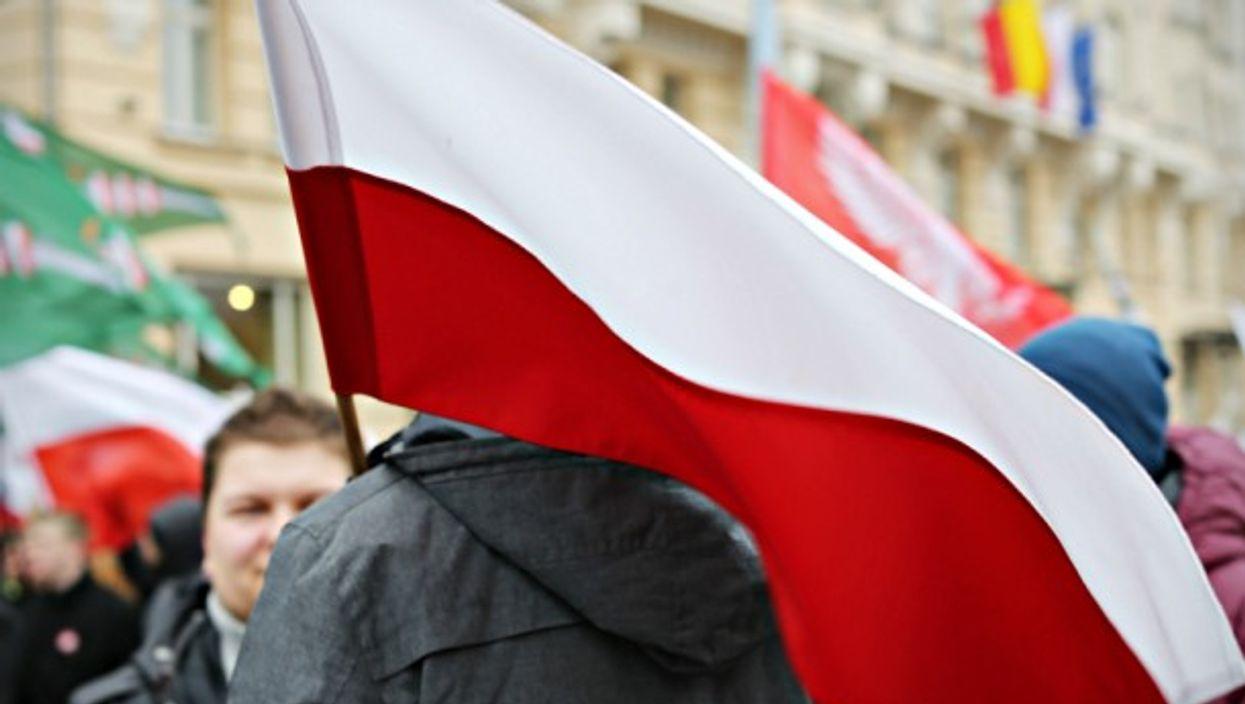 Polish flag at a Nov. 11 march in Warsaw