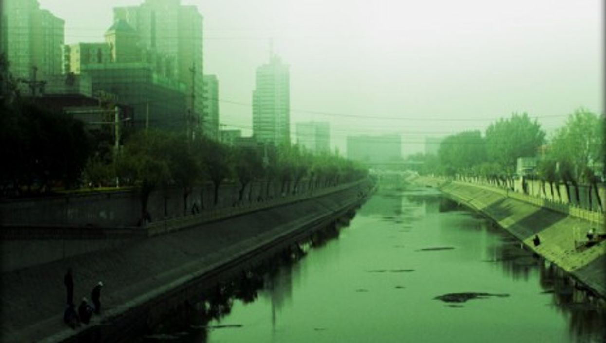 Polluted river in Beijing... Go on, jump!