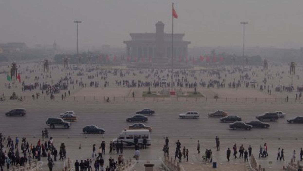 Pollution over Tiananmen Square in Beijing (mckaysavage)