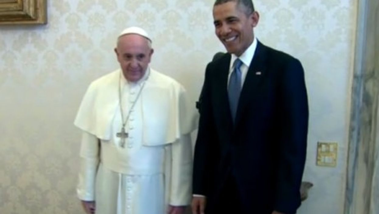 Pope Francis and President Barack Obama meet in Vatican City.