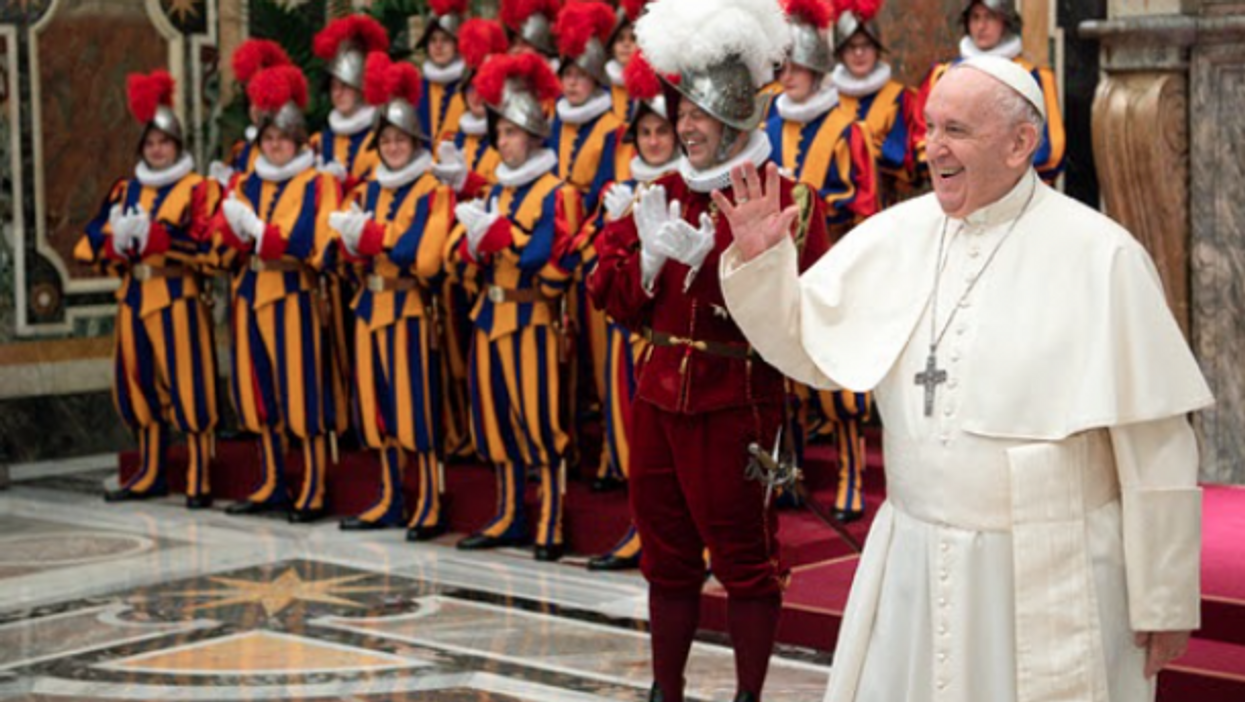 Pope Francis at the swearing-in ceremony for the Vatican's Swiss Guard