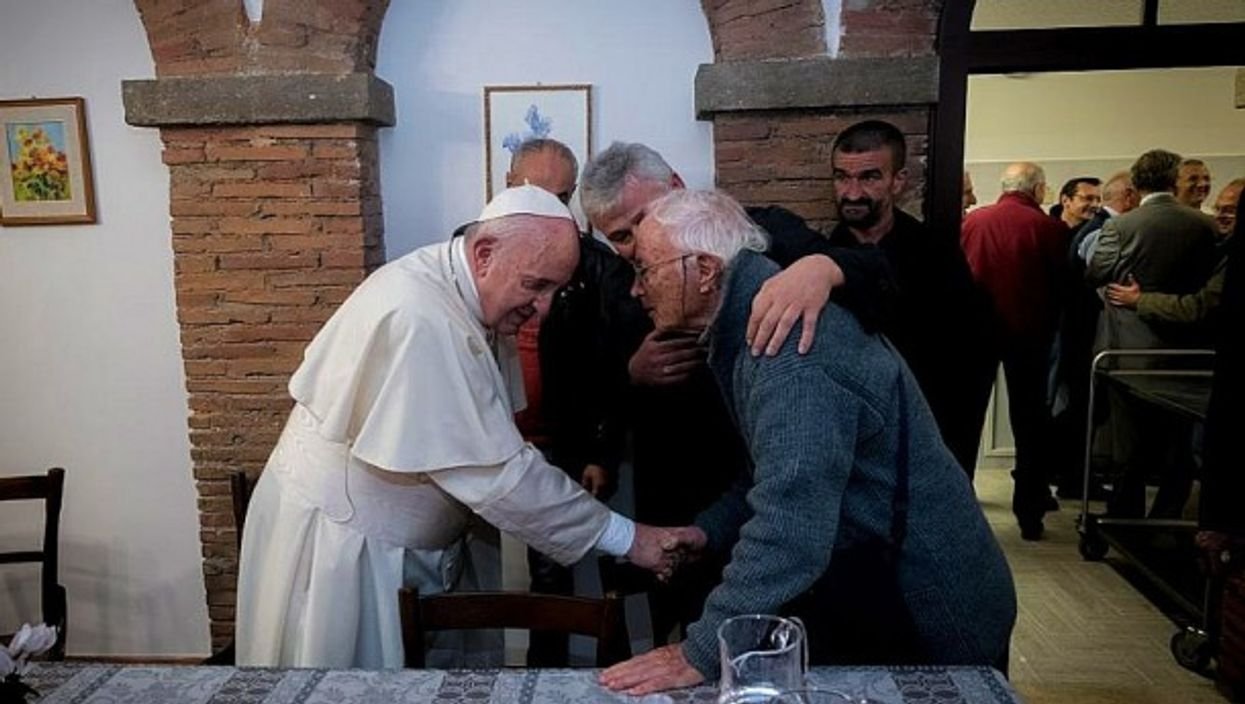 Pope Francis meets with the needy at Palazzo Migliori