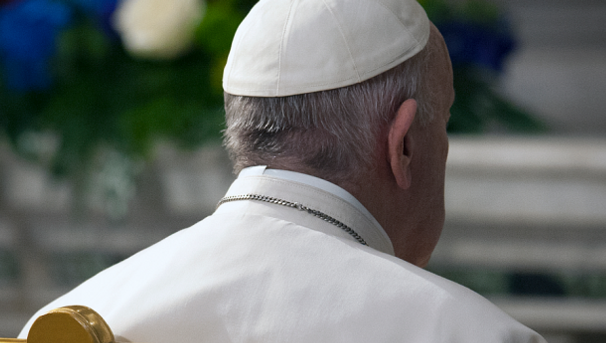 Pope Francis presiding over mass in the Vatican on May 1