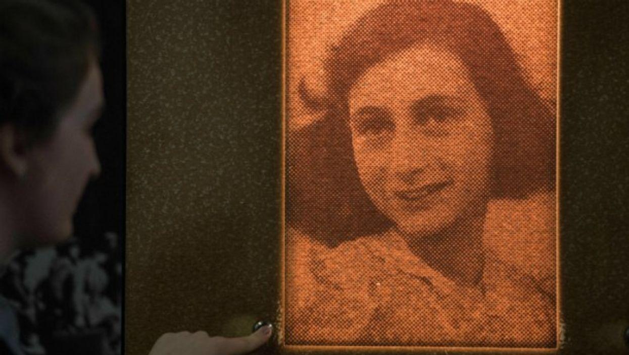 Portrait of Anne Frank in an exhibition in Frankfurt, Germany