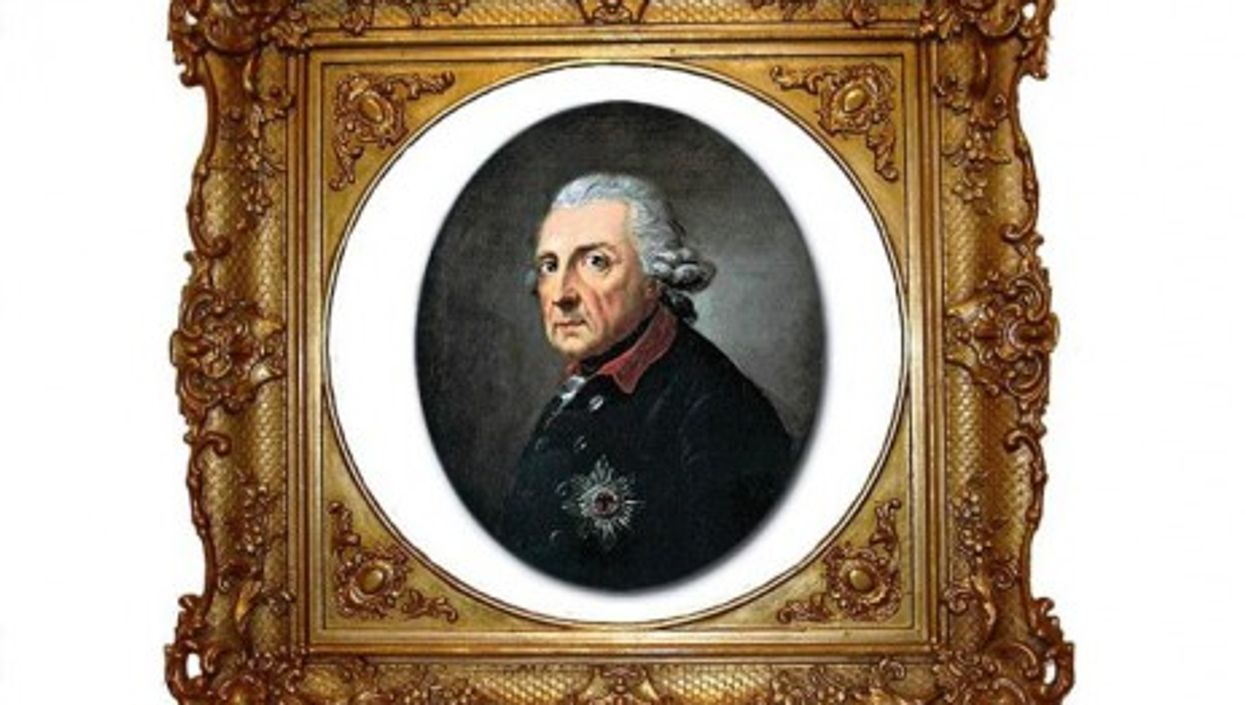 Portrait of Frederick the Great, aged 68, by Swiss painter Anton Graff.