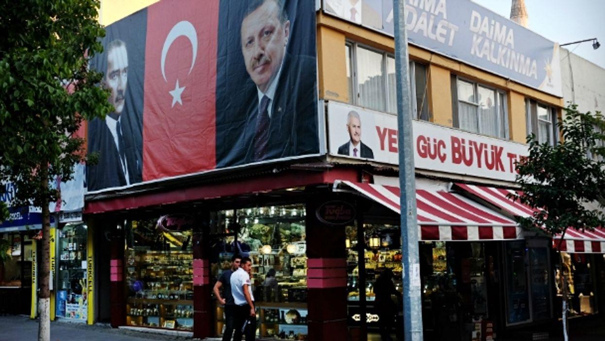 Portraits of Mustafa Kemal Ataturk and Recep Tayyip Erdogan in Selcuk on Sept. 27