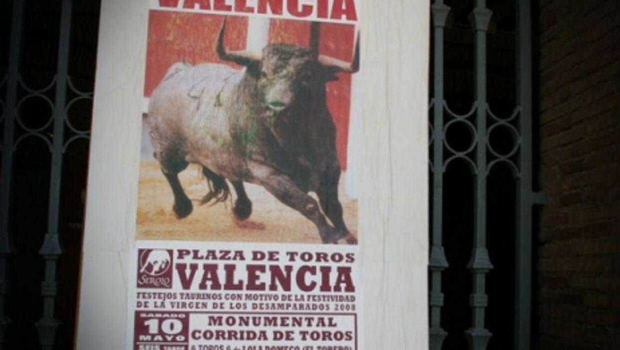 Poster for bullfighting at Plaza de Toros in Valencia
