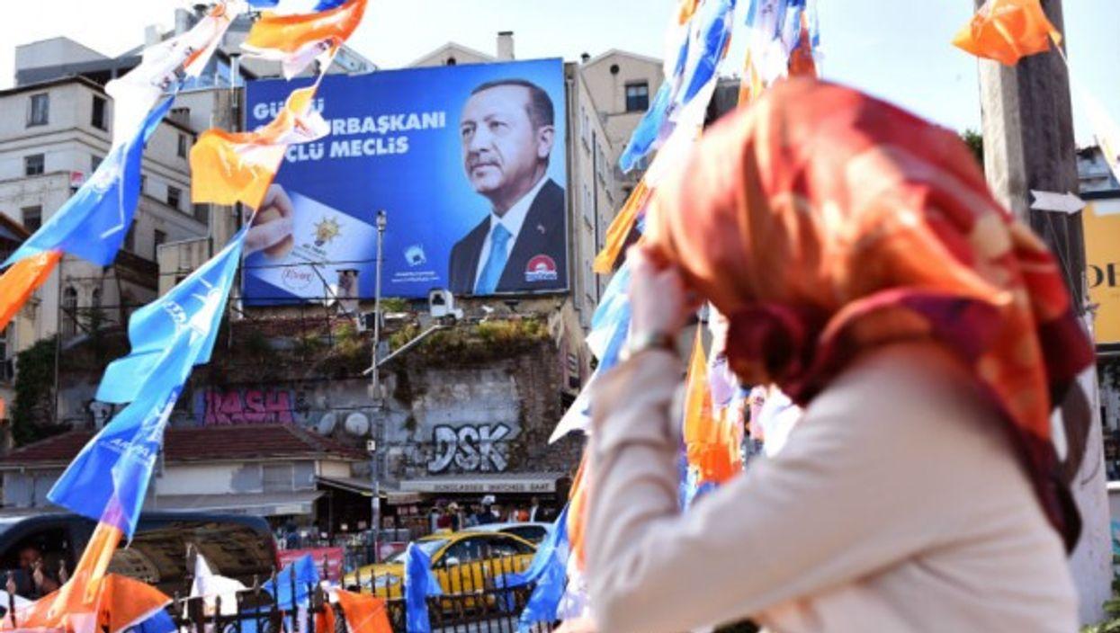 Poster of Turkey's President Erdogan in Istanbul