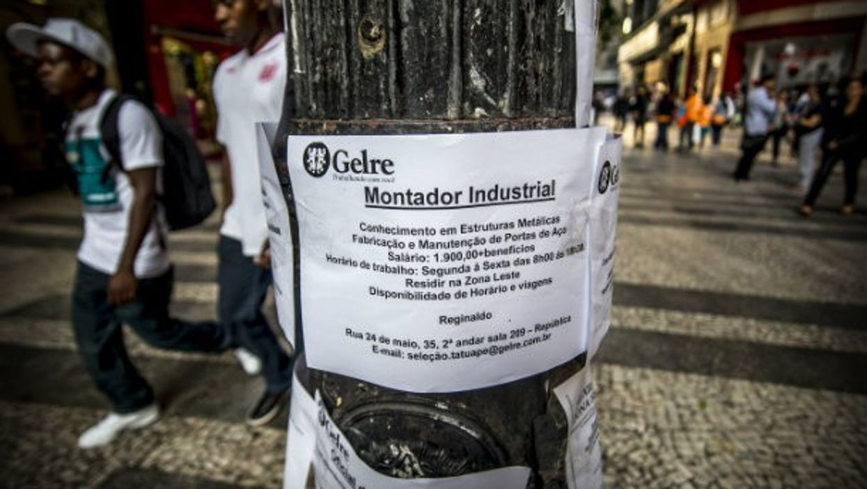 Posters advertising jobs in the Brazilian city of Sao Paulo