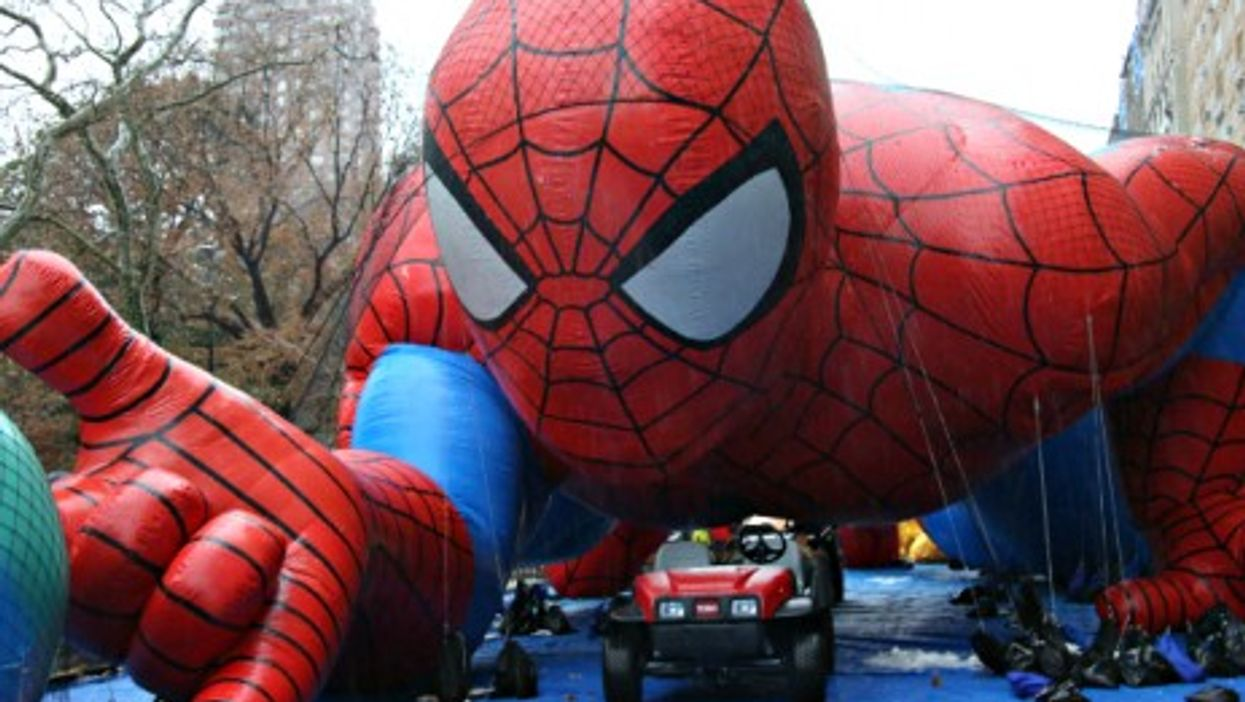 Preparations for New York's annual Macy's Thanksgiving Day Parade in NYC