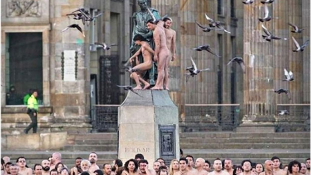 Preparing for the Spencer Tunick nude event in Bogota