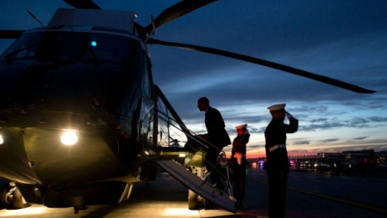 President Obama boards Marine One last month