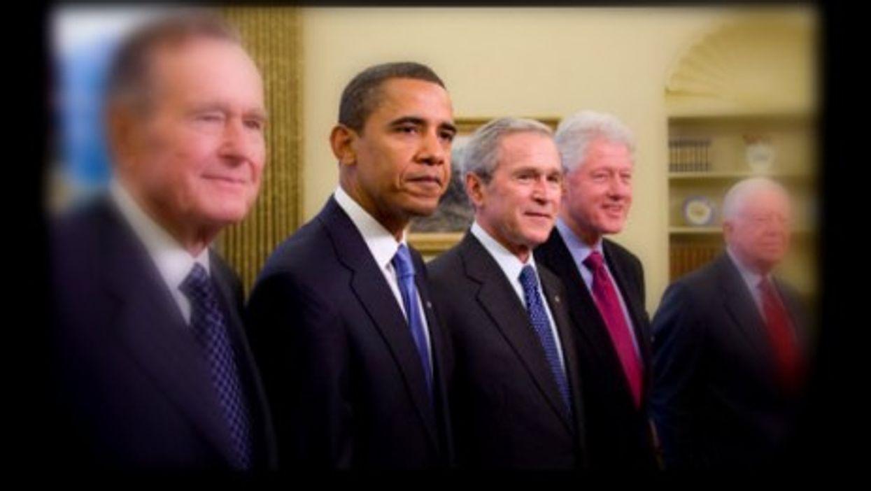 Presidents Bush, Obama, Bush, Clinton and Carter back in 2009