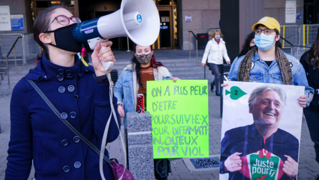 Protest against Gilbert Rozon in Montreal on Nov. 6