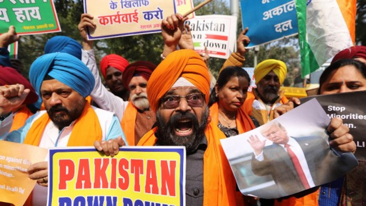 Protest demanding the US President Donald Trump to take action against Pakistan in Delhi in February 2020