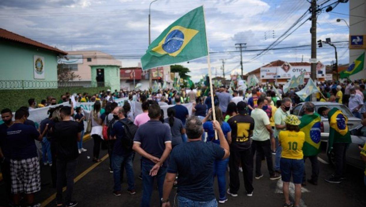Protest in support of Brazilian President Jair Bolsonaro, in Sao Paulo, Brazil,  March 2021.