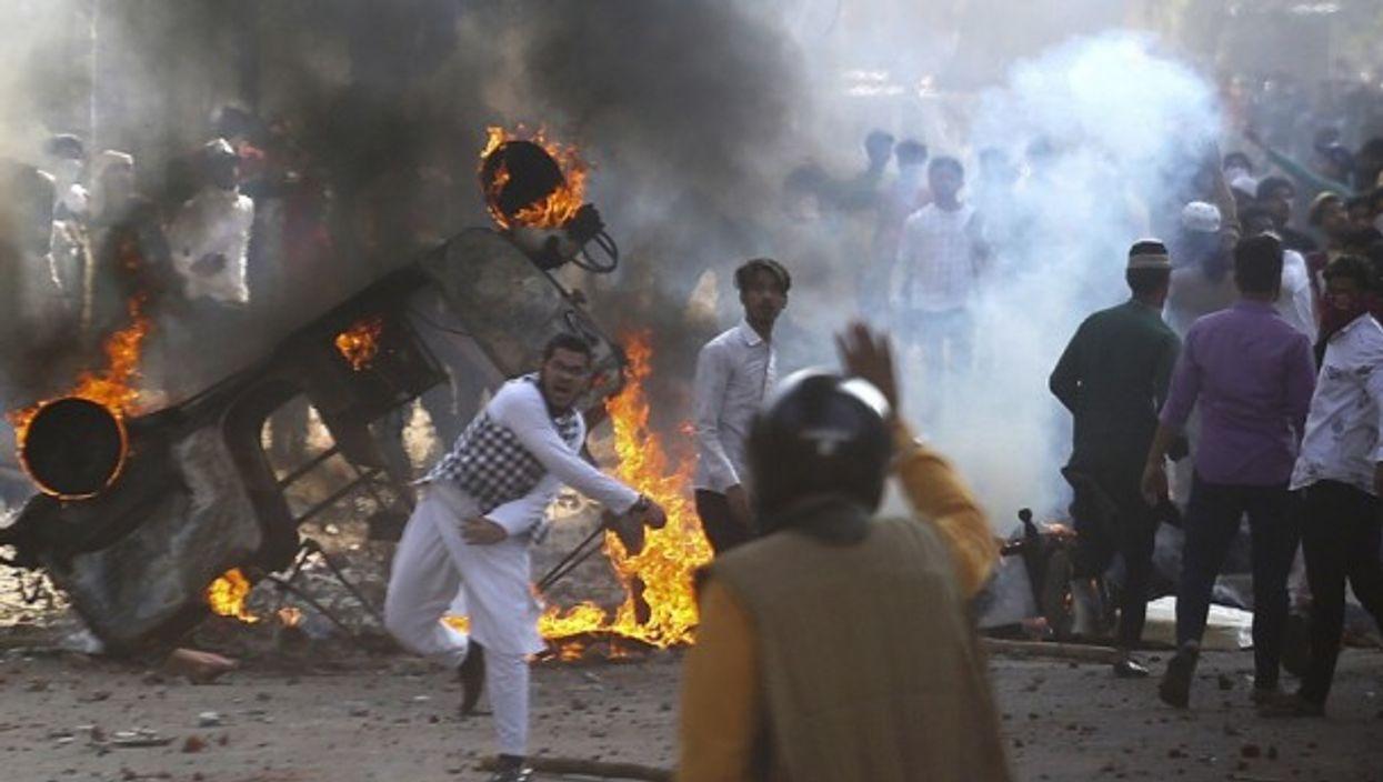 Protest over new citizenship law in New Delhi.