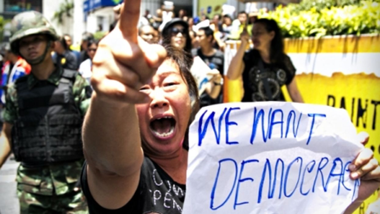 Protester in Bangkok after the May 2014 coup