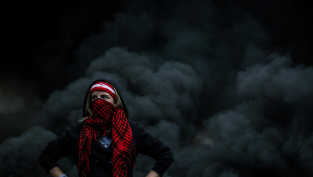 Protester in Beirut, Lebanon, on March 8