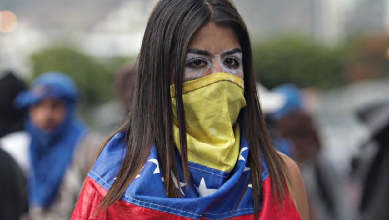 Protester in Caracas on Jan. 23