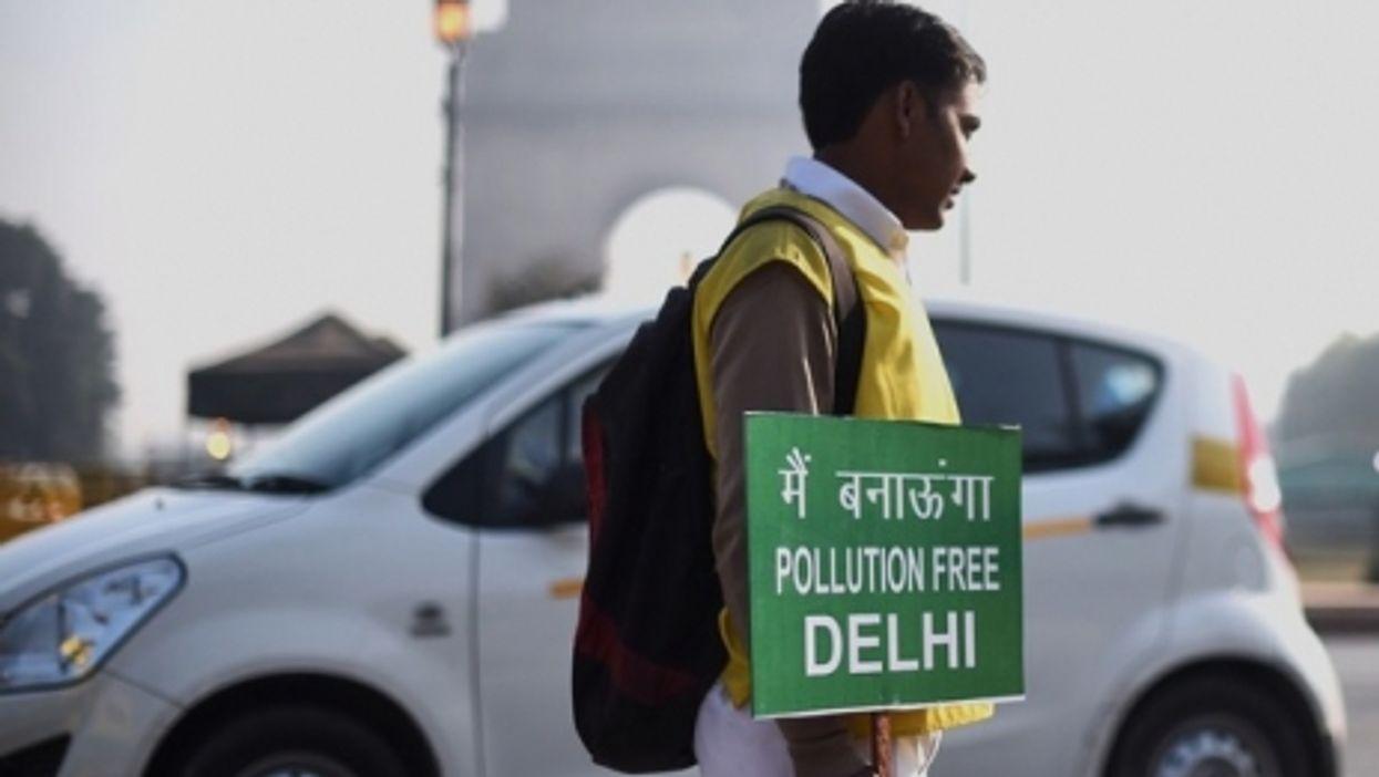 Protester in Delhi, Jan. 1, 2016