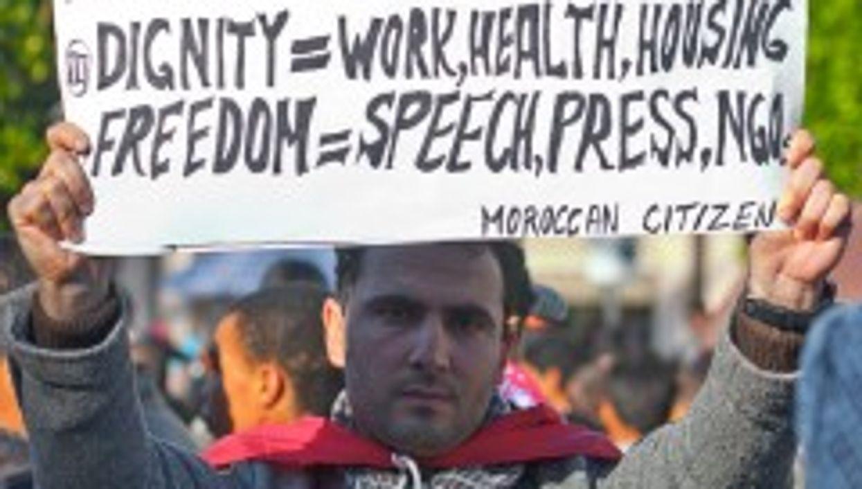 Protester in Rabat, Morocco