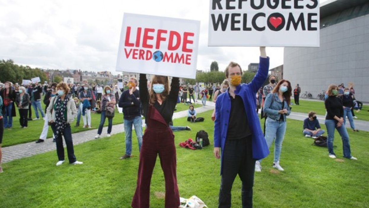 Protesters during a demonstration SOS Moria refugee camp in the Netherlands